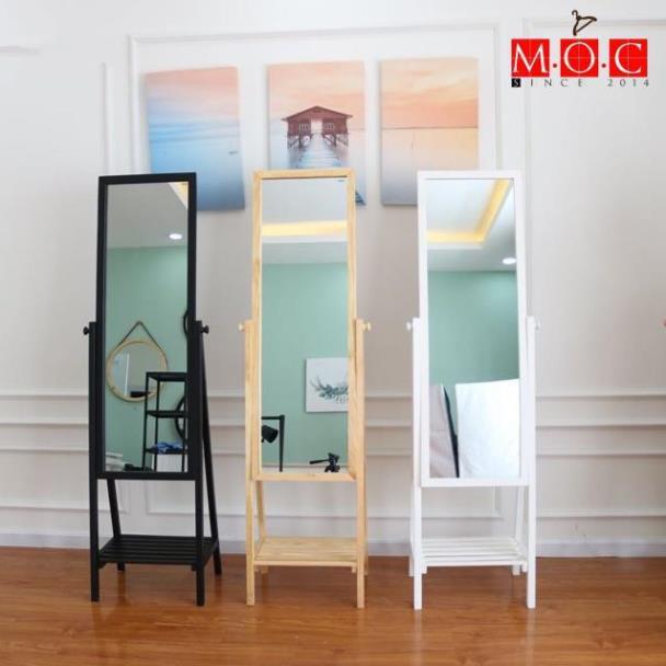 Gương viền gỗ- Gương đứng phối kệ gỗ